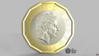 новая монета 1 фунт стерлингов
