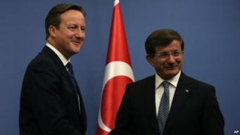 David Cameron and Ahmet Davutoglu
