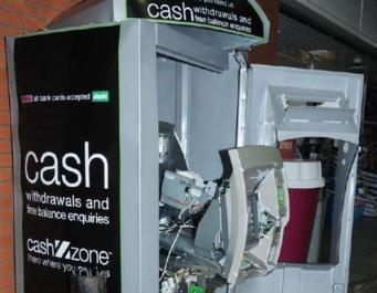 взорванный банкомат
