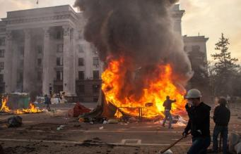 Пожар у Дома Профсоюзов в Одессе
