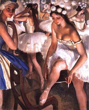 «Балетная уборная. Снежинки» Зинаиды Серебряковой