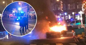 В Лондоне около рождественской ярмарки загорелся автомобиль