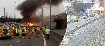 Шоссе М5 в Вустершире закрыто в обе стороны из-за сильного пожара