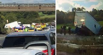 Автомагистраль М5 закрыта после крупной аварии