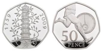 Royal Mint  отметил пятидесятилетие выпуска семигранной пятидесятипенсовой монеты