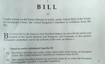 Билль о Пятидесятой Статье представлен парламенту фото:twitter