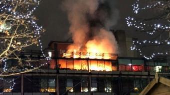 В центре Манчестера вспыхнул сильный пожар