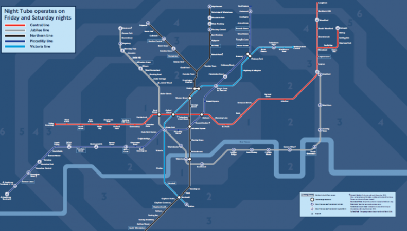 карта ночного метро в Лондоне