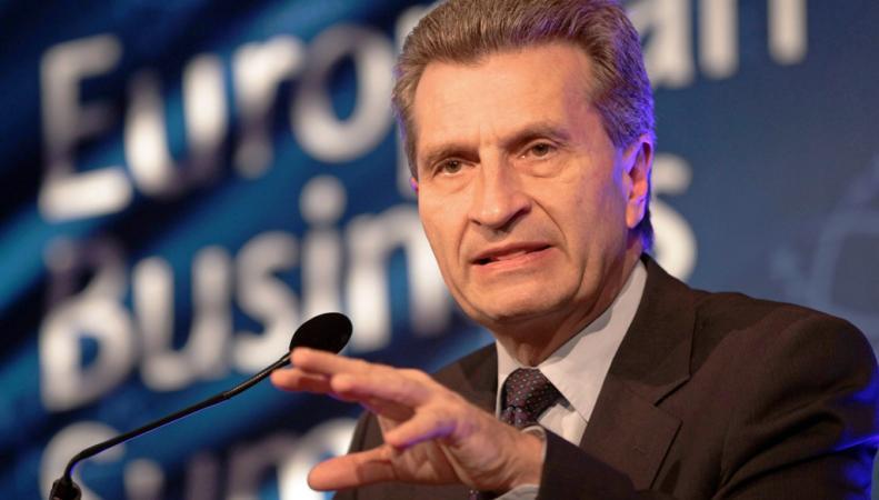 Еврокомиссар Эттингер призвал ЕС и Украину полностью заполнить газохранилища