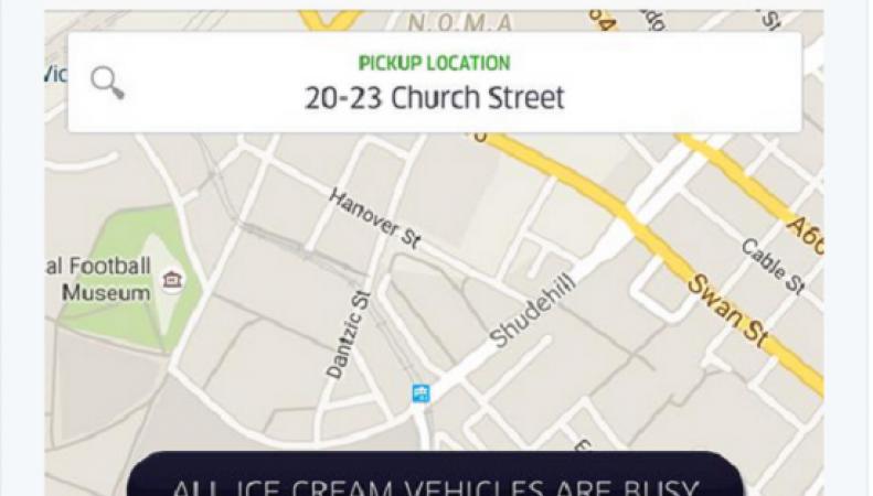 Uber доставка мороженого