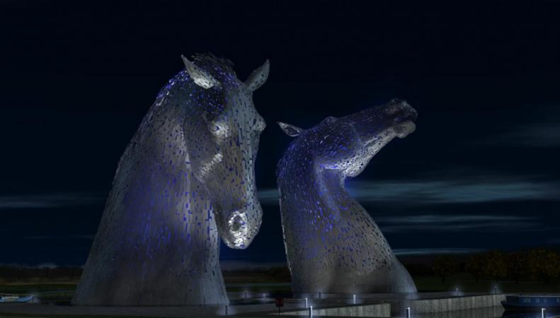 Скульптура лошадей в Шотландии