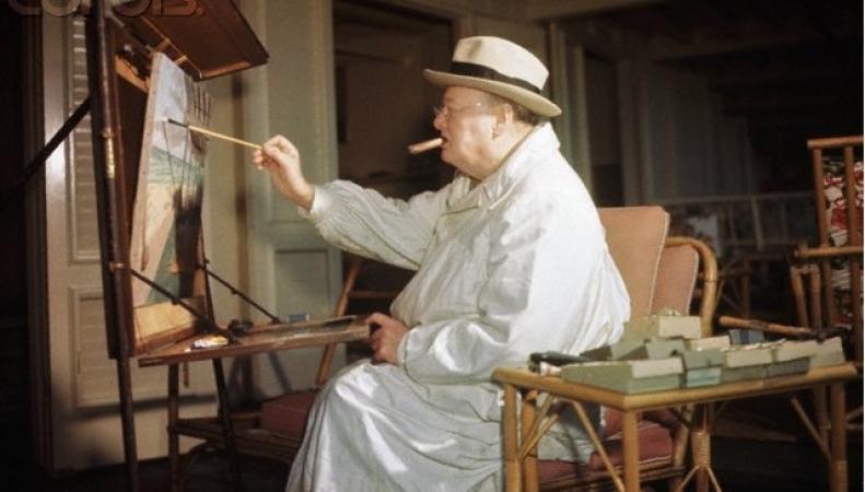 Уинстон Черчилль пишет картину