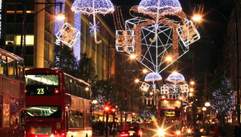 рождественские огни на Oxford Street