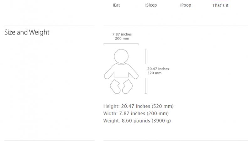Скриншот сайта о ребенке