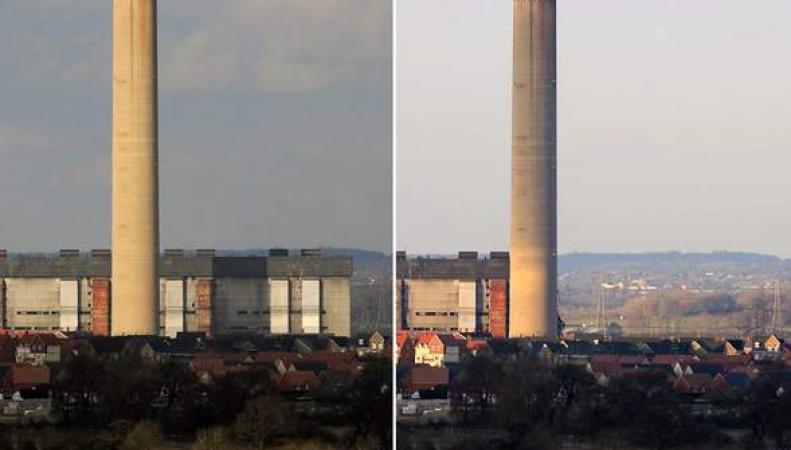 Электростанция в Дидкоте до и после обрушения