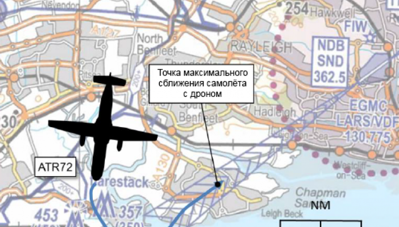 Схема пролета пассажирского самолета и дрона