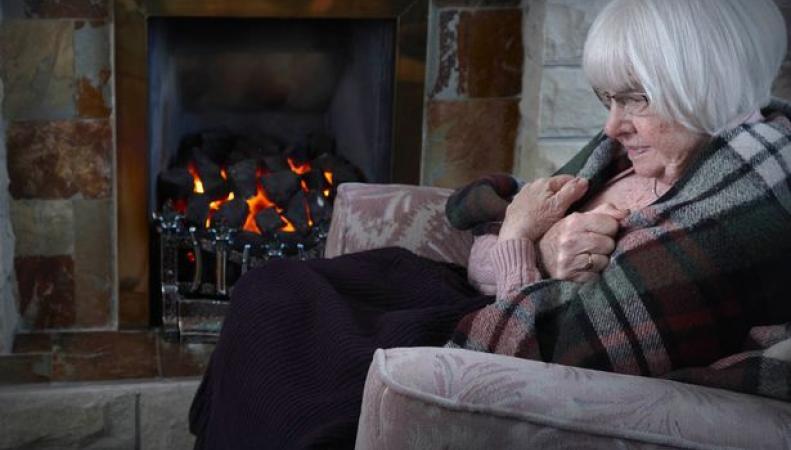 пожилая женщина у камина