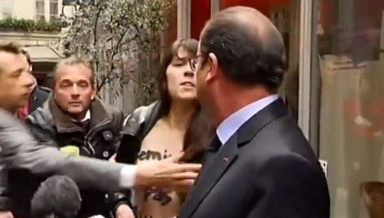 Франсуа Олланд и активистка FEMEN