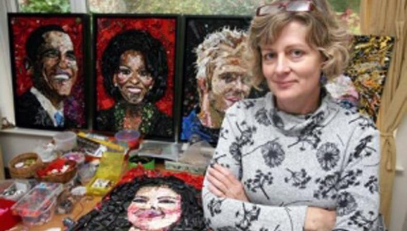 Художница Джейн Перкинс создает картины из мусора
