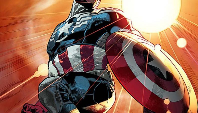 Супергерой Сокол в костюме Капитана Америки