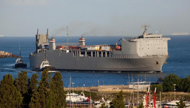 Корабль, перевозящий сирийское химическое оружие