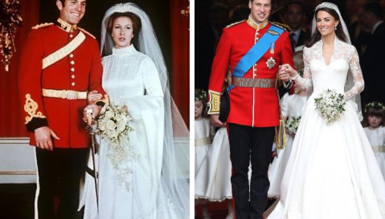 Принцесса Анна и Марк Филиппс, принц Уильям и Кейт