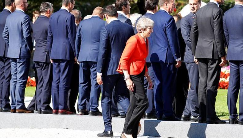Мэй и спины участников саммита