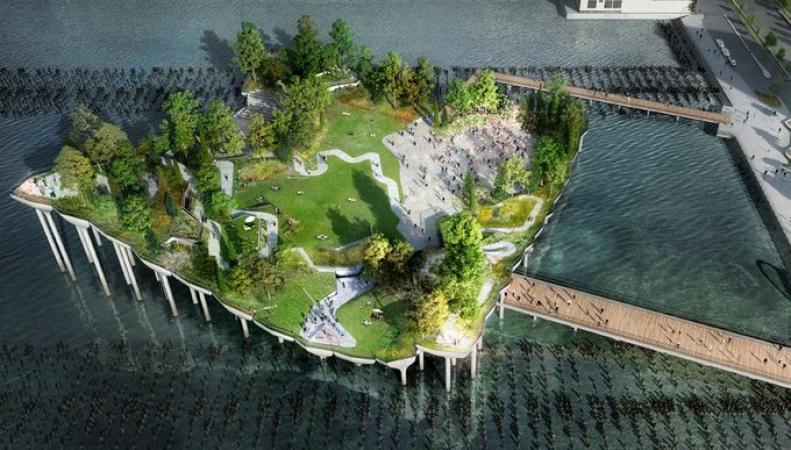 Плавучий парк в Нью-Йорке