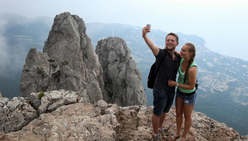 Туристы на скале