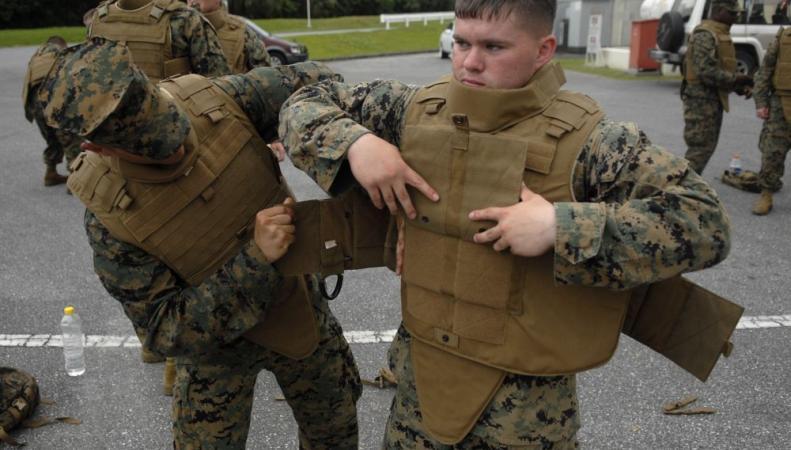 украинских силовиков одели в бронежилеты НАТО