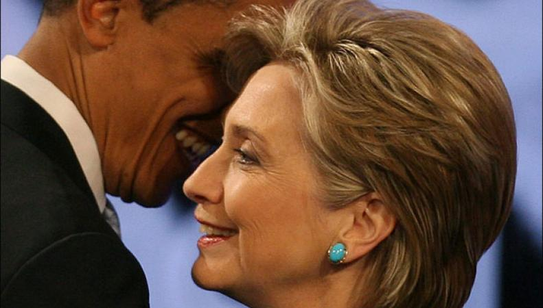 Неофициальный обед Хиллари Клинтон и Барака Обамы