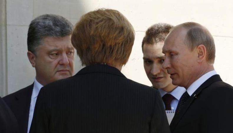 Путин, Порошенко, Меркель