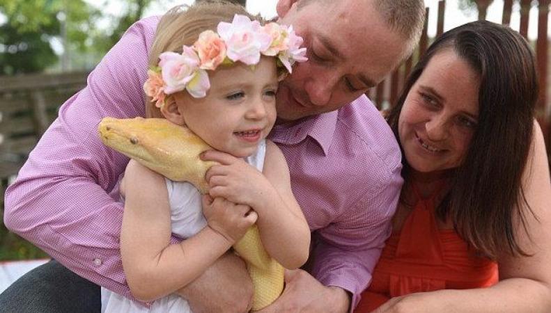 Двухлетняя девочка из Британии шокировала интернет поцелуем с питоном
