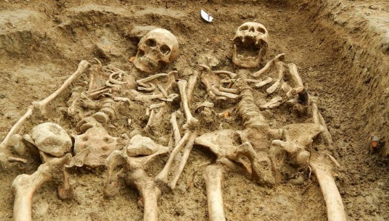 Скелеты, держащиеся за руки