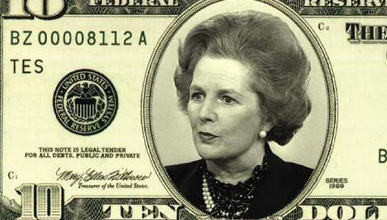 портрет Тэтчер на банкноте