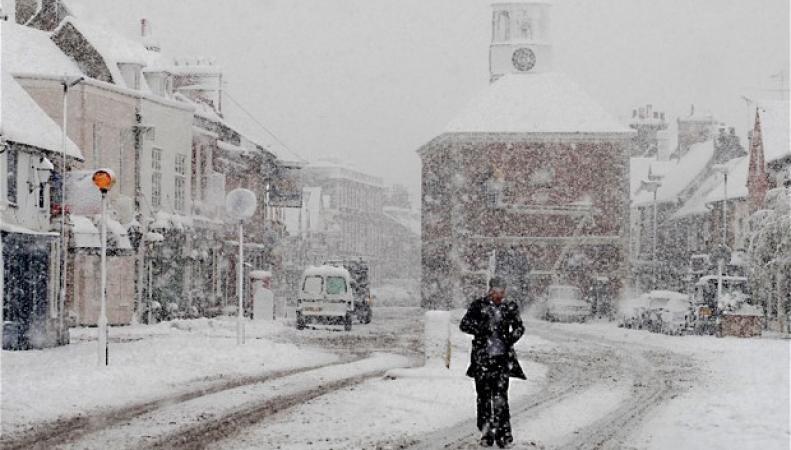 снегопад в Великобритании