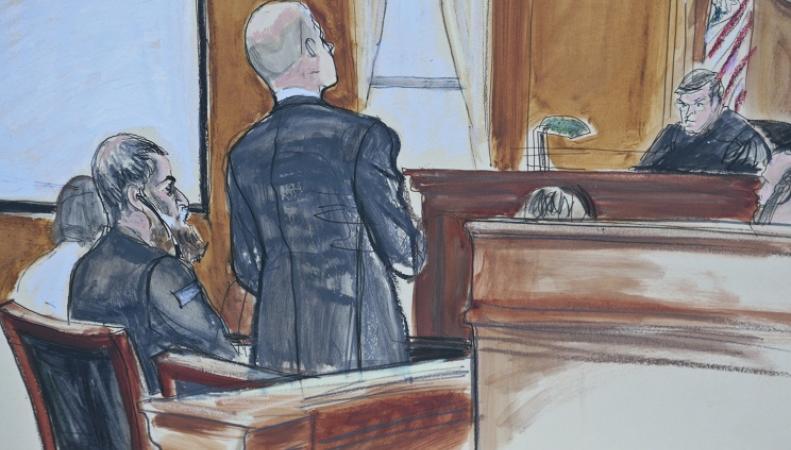 Зарисовка из зала суда над Абу Анаса аль-Либи
