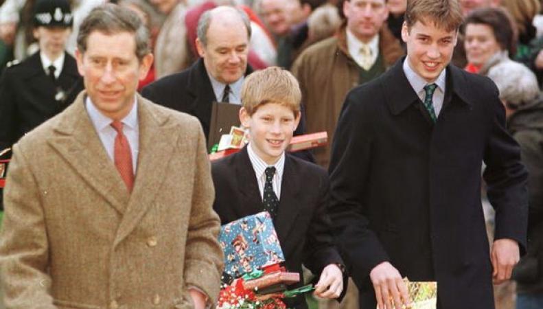 Принц Чарльз с сыновьями в 1997-м году