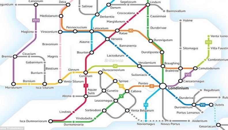 """Студент представил """"карту метро"""", которая показала дороги Британии в римскую эпоху"""