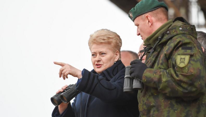 Президент Литвы во время учений