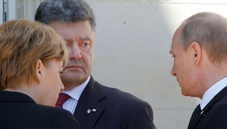 Путин, Меркель, Порошенко