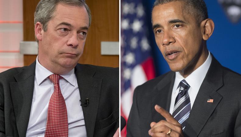 Найджел Фараж и Барак Обама