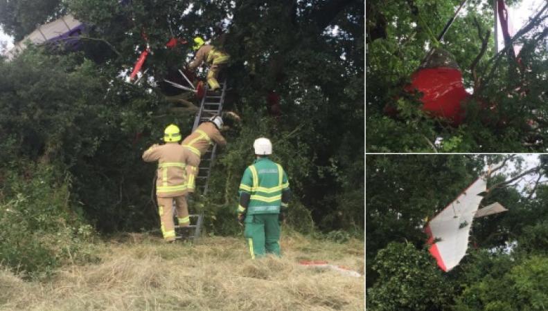 Мотодельтаплан под управлением 91-летнего пилота разбился в Кенте фото:twitter