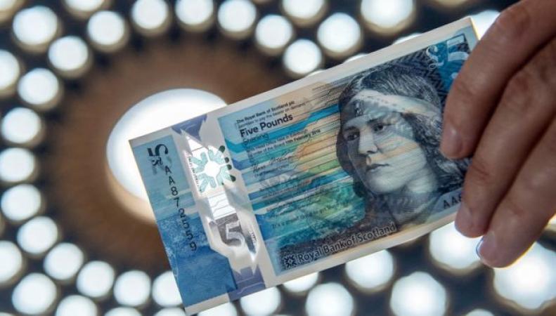 В Великобритании поступили в обращение пятифунтовые пластиковые банкноты с макрелью фото:bbc.com
