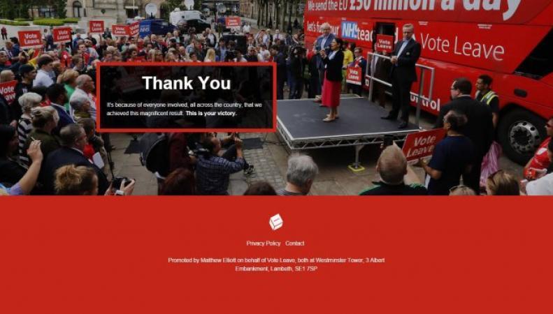 Движение Vote Leave зачистило свой сайт от предвыборных обещаний фото:metro.co.uk
