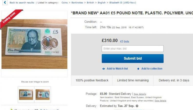 Пятифунтовые пластиковые банкноты выросли в цене в десятки раз к номиналу фото:thesu.co.uk