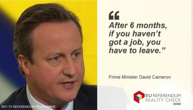 Депортация безработных мигрантов: Правда и ложь в словах Дэвида Кэмерона фото:bbc.com