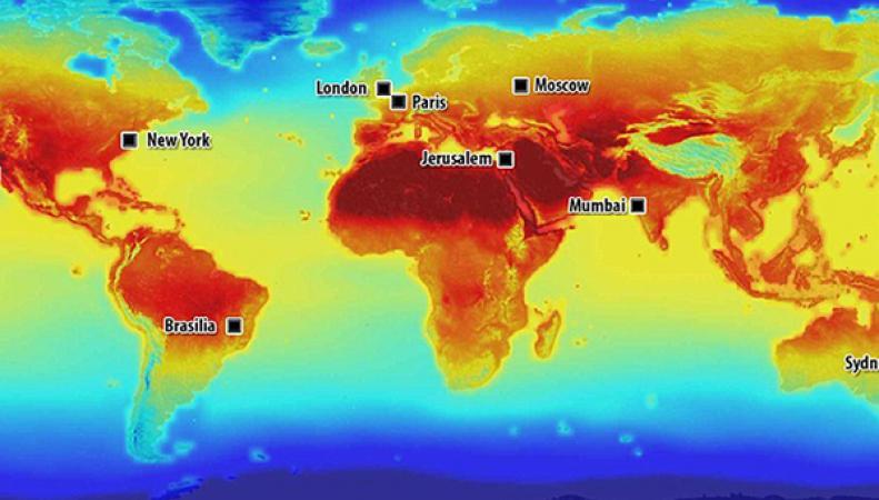 Карта изменения температуры воздуха