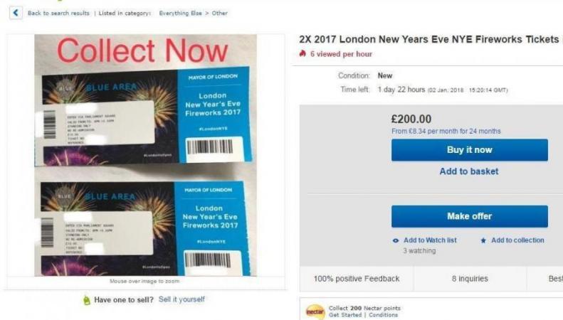 Билеты на Лондонский фейерверк продают по сто фунтов стерлингов за штуку
