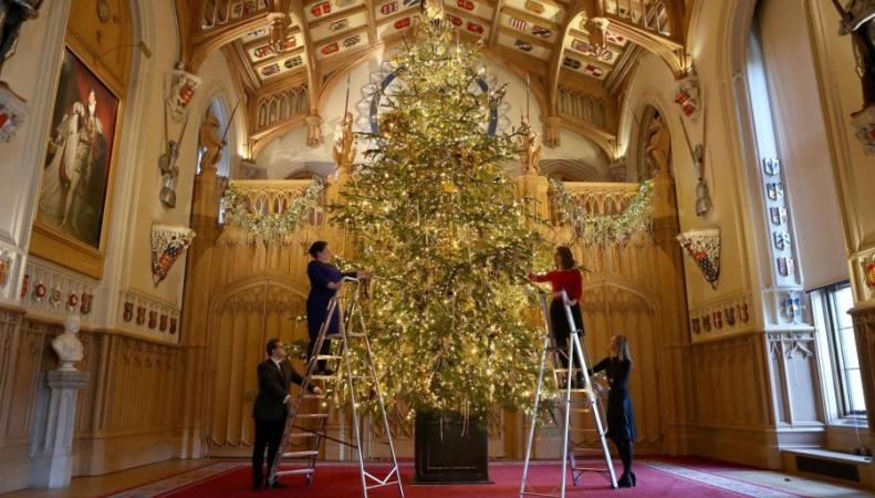 В королевском замке в Виндзоре установили рождественскую ель